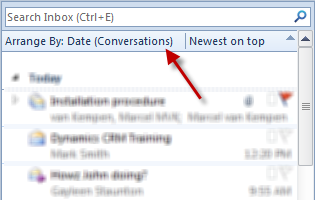 outlook show as conversations