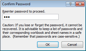 if a password was applied excel now asks you to confirm your password by re entering it in the confirm password dialog box