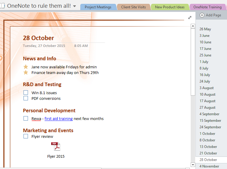 onenote section template - managing meetings using onenote excel at work