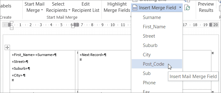 word merging a list of names and addresses to labels excel at work