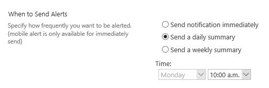 SharePoint Alert timing