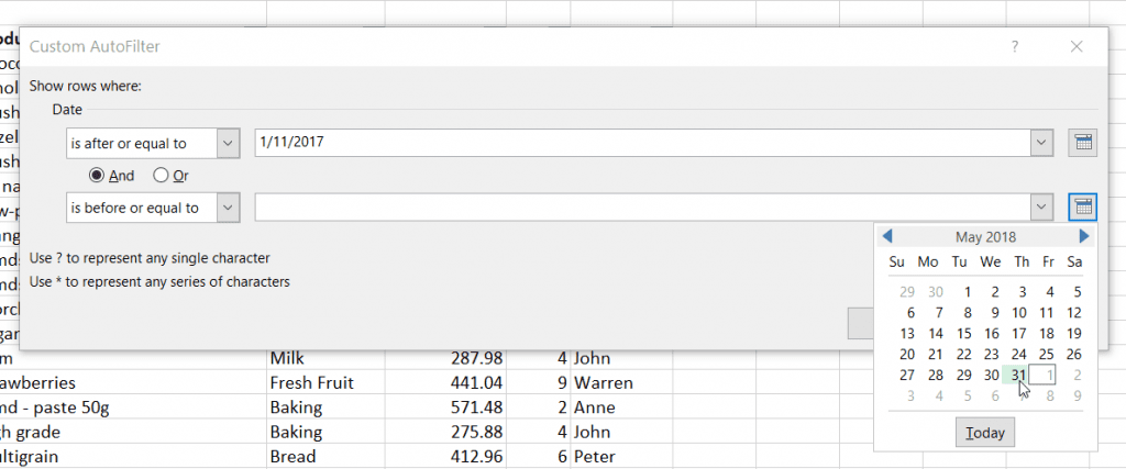 Excel Custom AutoFilter Dates