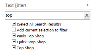 Excel Filter Search box
