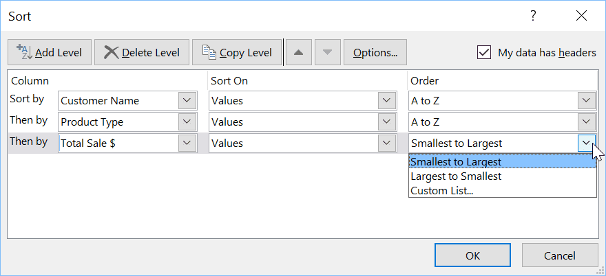 Excel Sort Levels