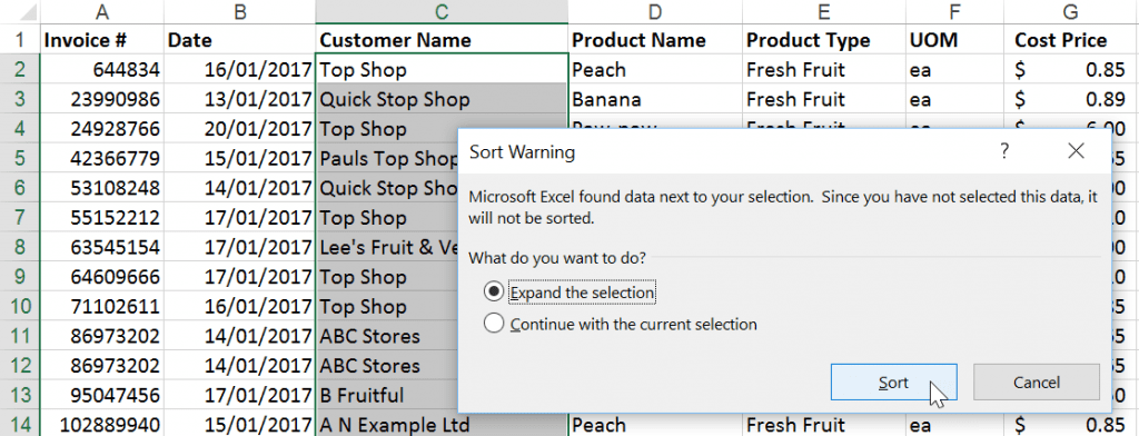 Excel Sort Warning