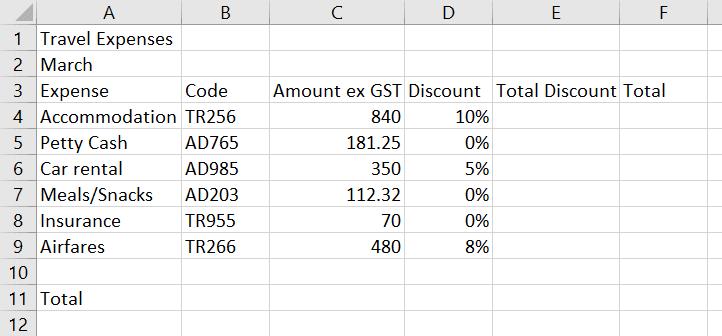 Excel data types