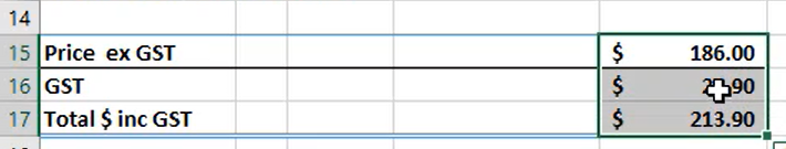 Select the formulas to be replaced with values