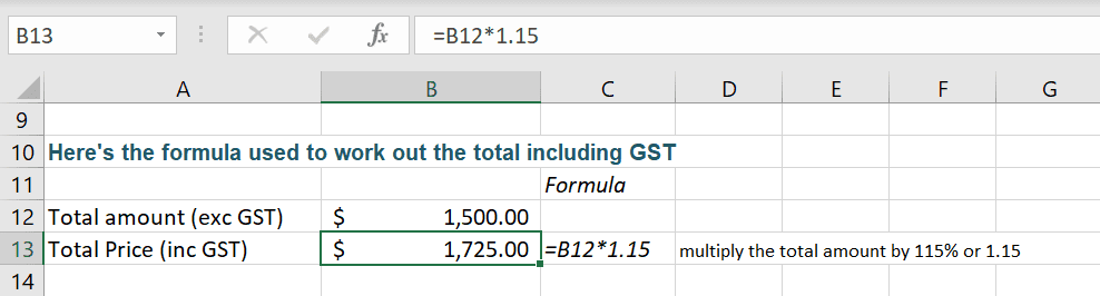 How To Calculate Gst At 15 Using Excel Formulas Excel At Work