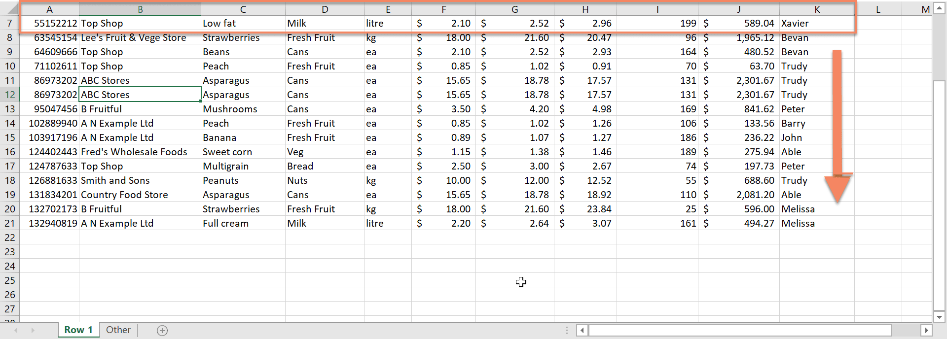 How to freeze a row in Excel 2