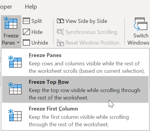 How to freeze a row in Excel 3