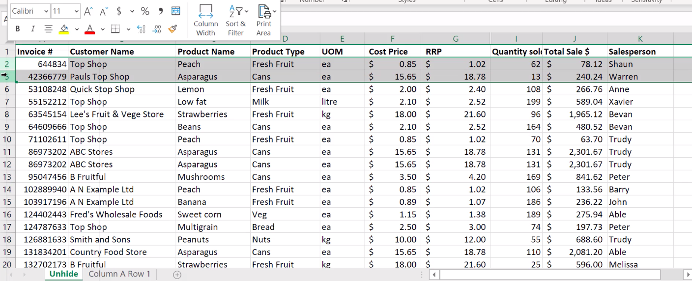 How to unhide columns in Excel 7