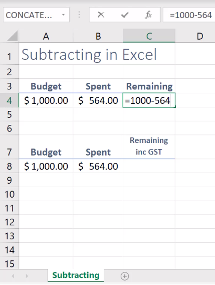 How to subtract in Excel 3