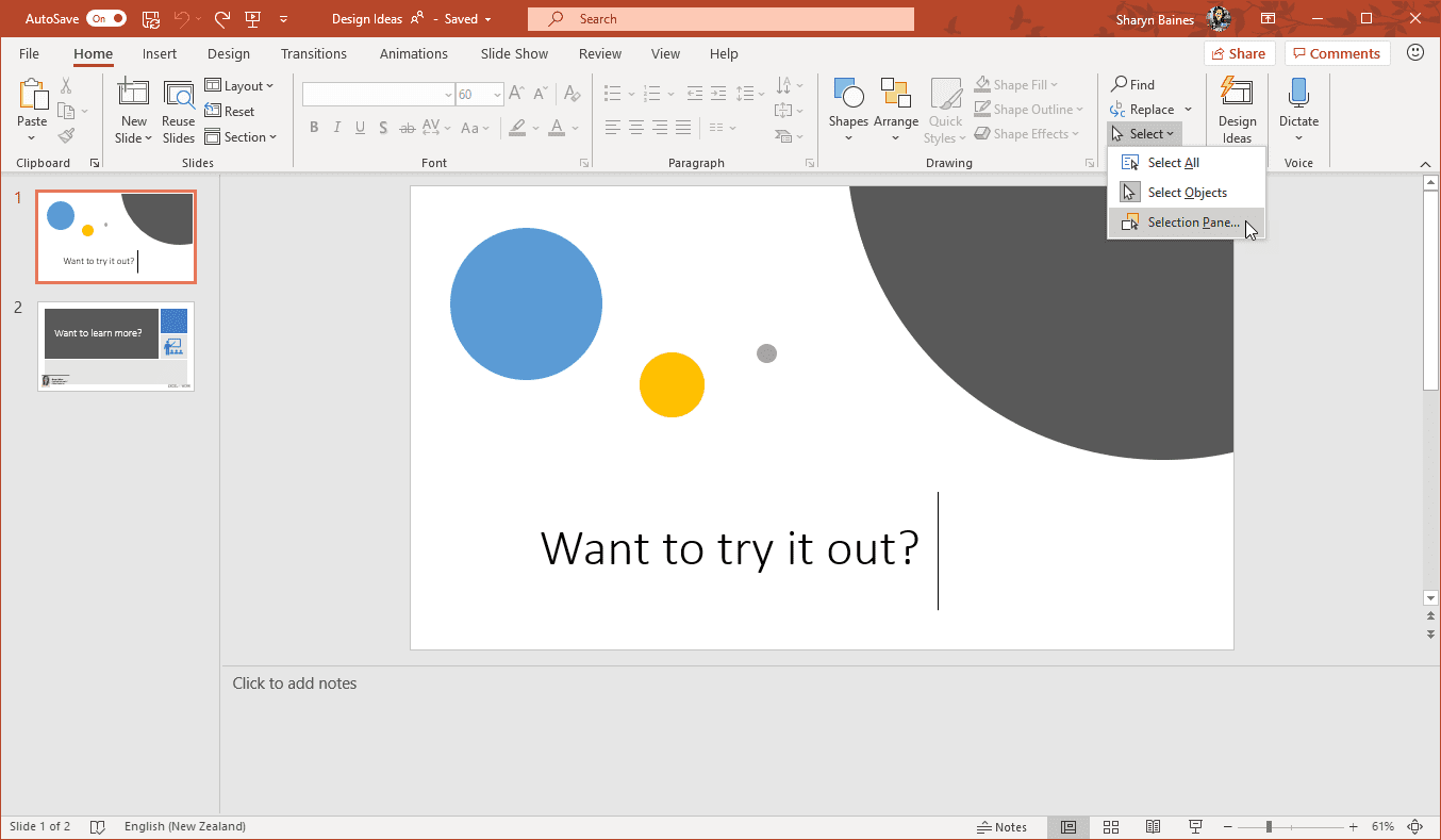 Make Changes To A Design Ideas Slide In Powerpoint Excel At Work
