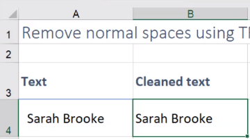 remove spaces in excel after text