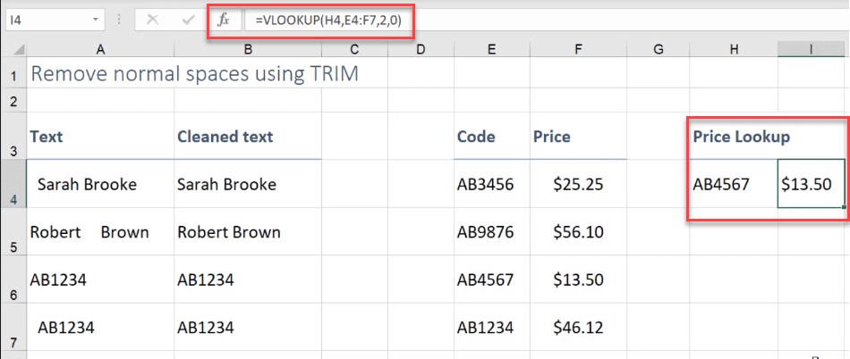 remove space in excel before text