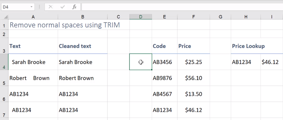 can you remove spaces in excel