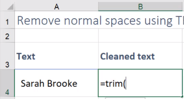 quick way to remove extra spaces in excel