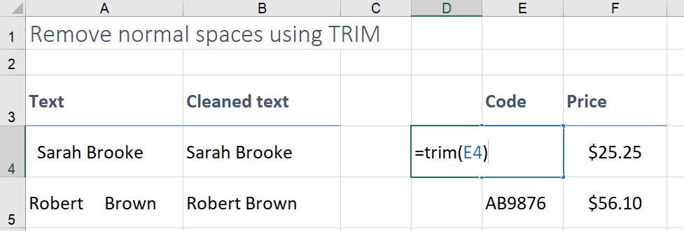 remove spaces in text excel formula