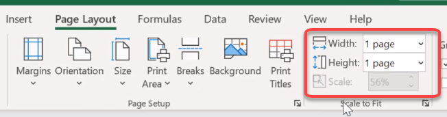 how to make a spreadsheet fit on one page