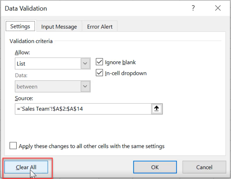 Remove drop-down list in Excel 4