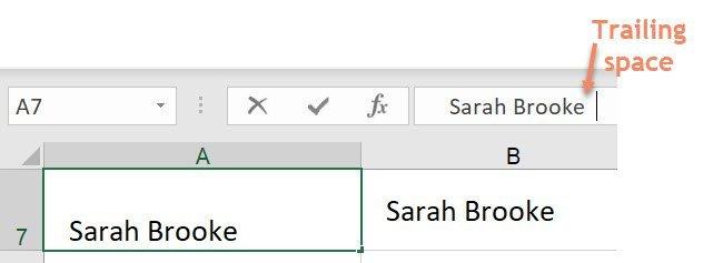 Excel remove spaces